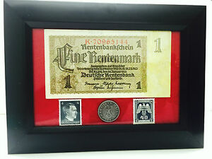 German-Rare1-Mark-Bill-10-rp-Coin-wth-Stamp-in-Disp-Frame