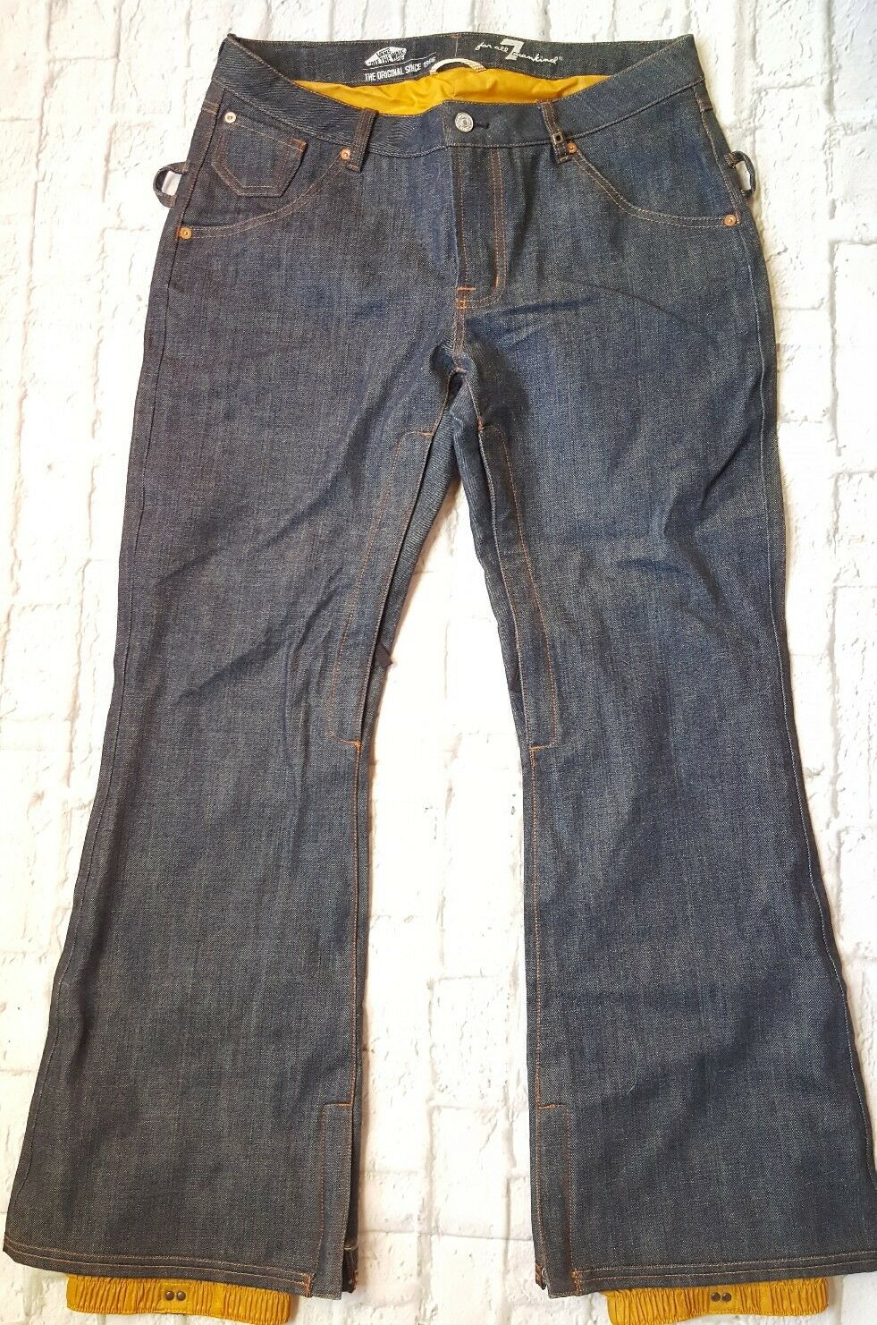 Vans  X 7 For All Mankind Womens Large Snowboard Ski Pants Denim Jeans Flare Rare  free shipping