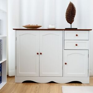 Details About Home Kitchen Buffet Storage Cabinet Cupboard Sideboard With 2 Drawers White Us