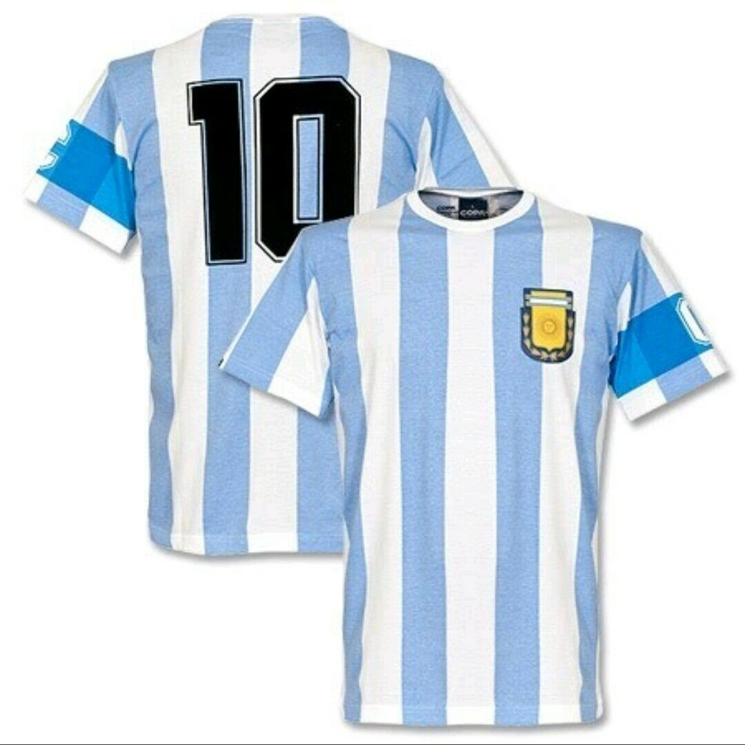 Copa argentoina Capitano Home Shirt 1986 World Cup Maradona Retro Old School VTG