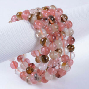 8mm-Multi-color-Watermelon-Tourmaline-Round-Gems-Beads-Elastic-Bracelet-7-5-039-039
