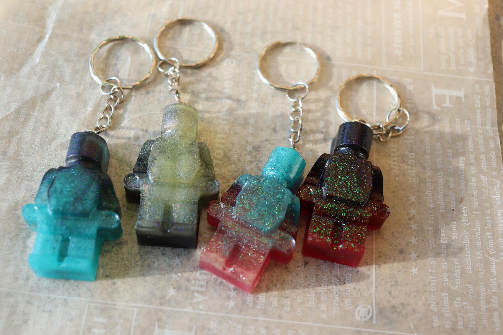 ★ Lot 4 Portes clés résine Légo/ Brick men / Kawaii / Cute / Hand made ★