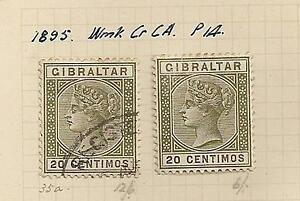 Gibraltar-stamps-on-album-page-1895-20-centimos-used-and-mint-unused-QV