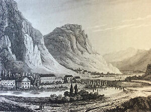 Therme-D-039-Ussat-Ossat-Engraving-towards-1850-Xixth-Hoods-of-Rhone-Tarascon