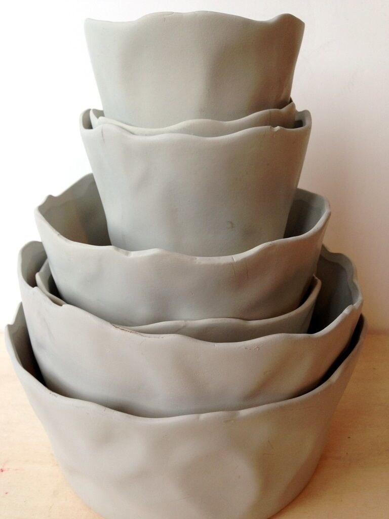 Set of 7 grau  taupe contemporary sculptural ceramic nesting ruffled cachepots