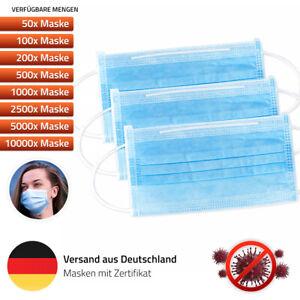 Einweg Mundschutz Atemschutz Gesicht Maske Hygienemaske 3-Lagig Behelfsmaske
