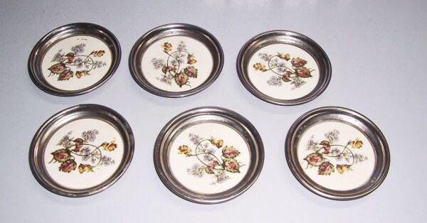 6 Muy Bonita Estilo Moderno Base Salvajes Flores Porcelana Níquel Um 1910