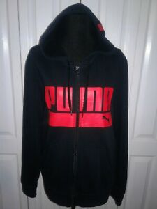 9c26fe2b2eba9 Details about Vintage Style PUMA Large Red Logo Men Zip Up Hoodie Navy Blue  Jacket Size M EUC