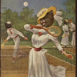 RARE ! ARTH. THIELE...FASHIONABLE CAT PLAYS LIVELY TENNIS GAME,SPORTS POSTCARD