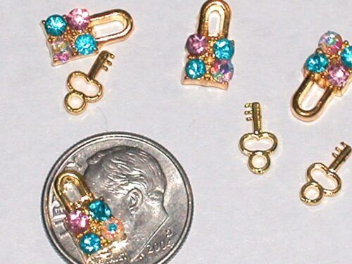 2pc Miniature dollhouse tiny little Crystal gold plated Lock /& Key set charm 3d