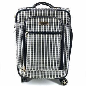 London Fog Sheffield 23 Spinner Luggage Suitcase Beige Blue Check Ebay