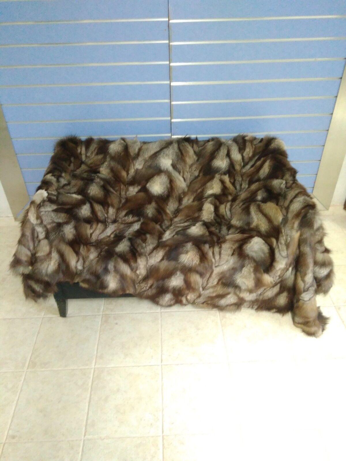 Luxury Crustal Fox Fur Throw Genuine Real Fox Fur Blanket   Bedspread