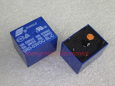 10pcs 5pins 3V SRD-03VDC-SL-C 10A 250VAC SONGLE Relay