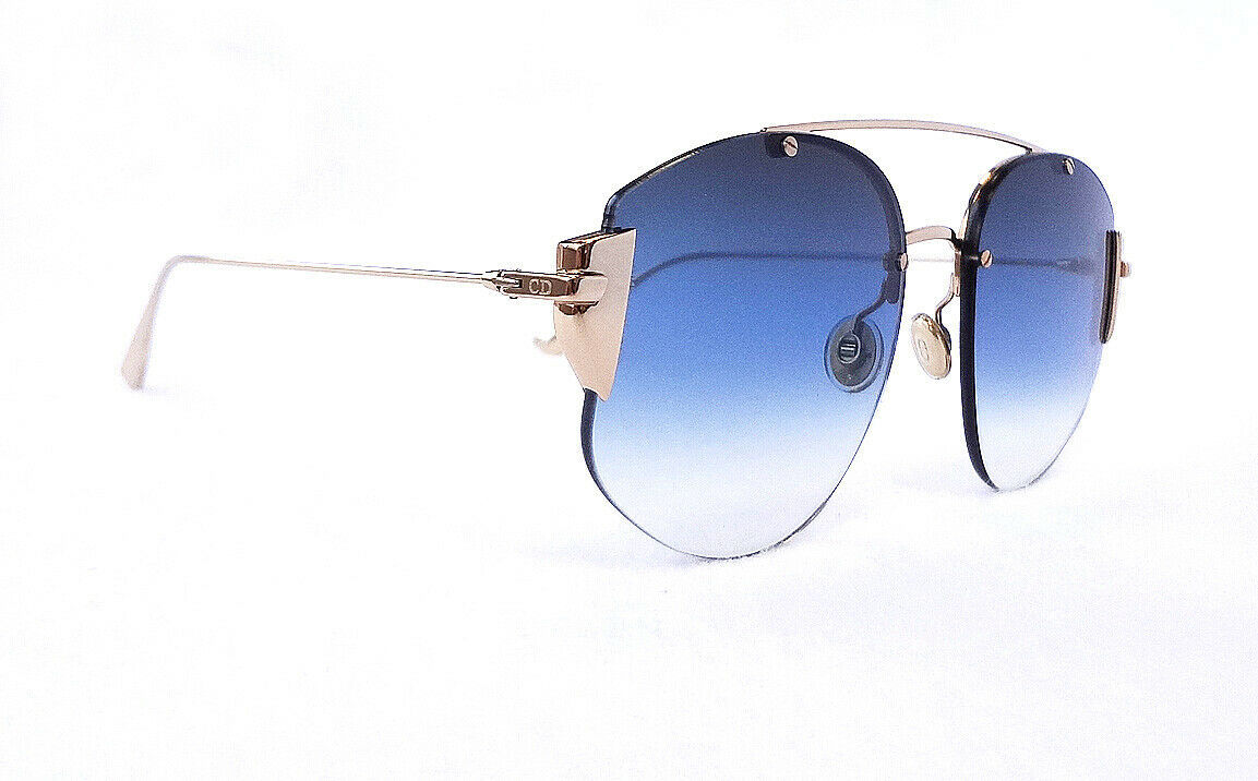 DIOR Women's Sunglasses STRONGER 0000 Gold/Blue Shade 145 MADE IN ITALY - New!