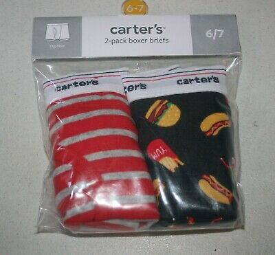 New Carter/'s 2 Pack Boys Boxer Briefs Underwear size 2 3 4 5 6 7 8 14 Food Fry