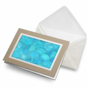 Greetings-Card-Biege-Blue-Mermaid-Scales-Pretty-2524