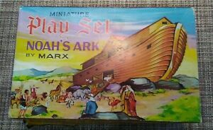 Lot-of-Vintage-Marx-Miniature-Noah-039-s-Ark-Play-Set-Parts-and-Original-Box