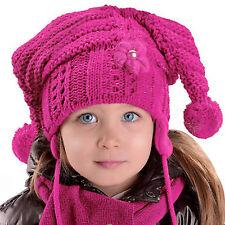 Winter Mütze Schal Mädchen Zipfelmütze Horn Trend Style Farbe Pflaume NEU R8/2