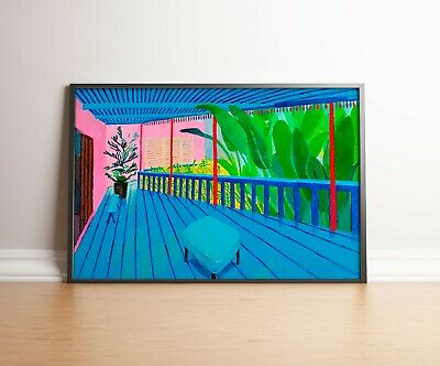David Hockney Garden with blue terrace PrintDavid Hockney PosterWall Decor
