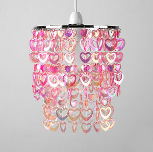 Girls Childrens Bedroom Nursery Pink Hearts Ceiling Light Lamp ...
