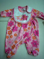 Girl Coverall And Bib, Floral Design, Size 3-6, Pink & Orange, By Mon Cheri Baby