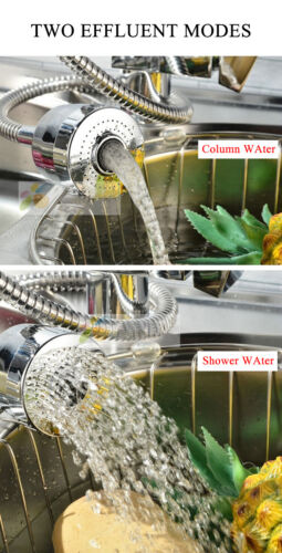 Pull Out Spray Taps Mixer 360° Swivel Kitchen Sink Mixing Tap Spring Neck Chrome