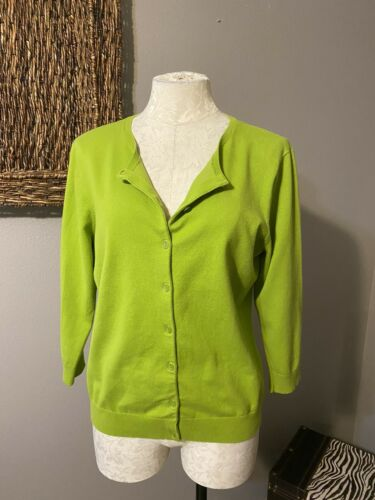 Talbots Green Apple Stretch Cotton Cardigan Sweate