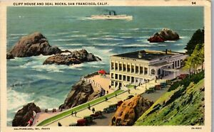 Cliff-House-and-Seal-Rocks-San-Francisco-California-Vintage-Postcard-BB1