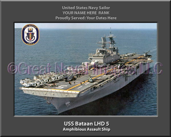 USS Bataan LHD 5 Personalized Canvas Ship Photo Print Navy Veteran Gift
