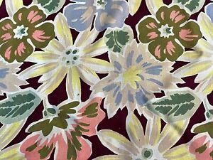 SALE-Sunny-Art-Deco-Flower-Power-Barkcloth-Vintage-Fabric-Drape-Curtain-1930-039-s