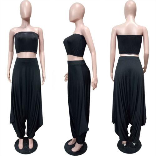 Women Set Strapless Crop Top Haren Pants Suit Two Piece Outfits Party Tracksuit