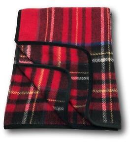 Wolldecke-034-Englische-Decke-034-mit-Band-in-schwarz-Plaid-aus-100-Wolle-150x200cm