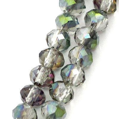 2 Enfilades Perles Facettes Cristal Verre Couleur AB 4x3mm B23448