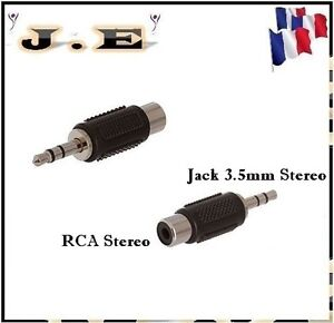 ADAPTATEUR AUDIO RCA FEMELLE STEREO VERS JACK 3.5MM STEREO