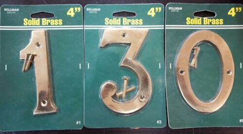 """0  Large Flush Mount! Hillman Group 4/""""Traditional Solid Brass House Number 3 1"""