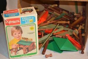 Vintage 1970s Lincoln Logs Roof Slates Playskool Logs