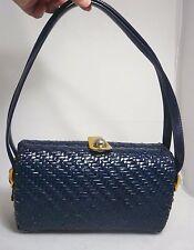 Vintage Koret 1960's Woven Wicker Box Basket Purse Bag - Blue + Dbl Straps