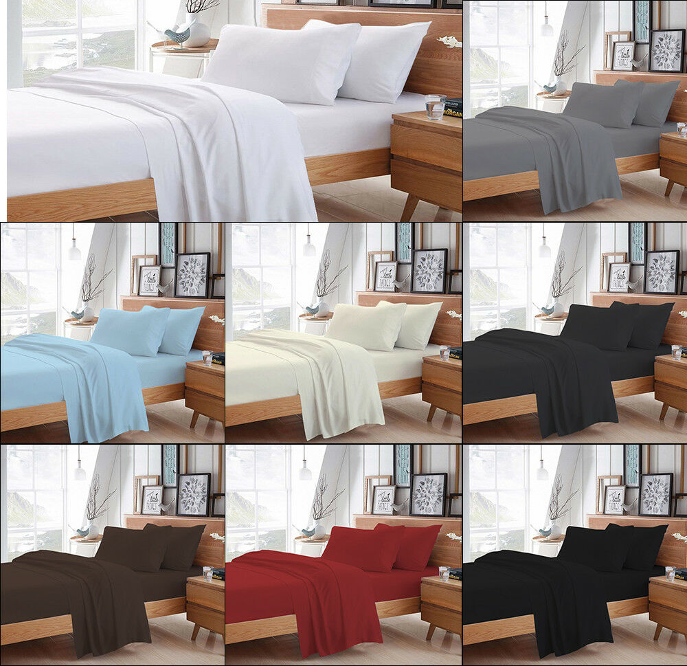 MISR Linen Solid 4PCs Sheet Set Egyptian Cotton 400 Thread Count 21 Inches