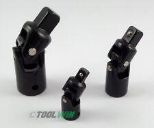 "3 pc Swivel Universal Joint Air Impact Socket Set 1/2"" 3/8"" 1/4 Inch Drive NEW"