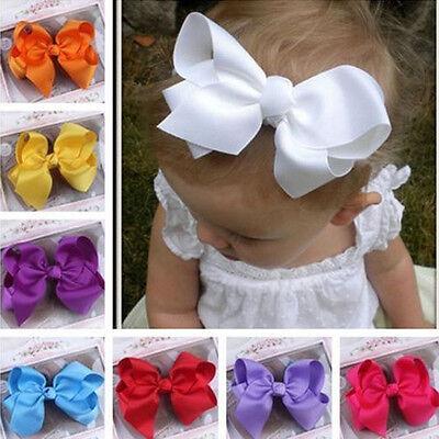 Fashion Grosgrain Ribbon Bow Hair Clip Pins Aligator Clips Flower Baby Girl New