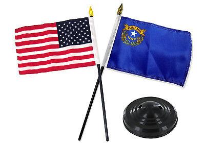 New Hampshire State w// USA America American Flag 4x6 Desk Set Black Base