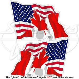 USA-United-States-America-CANADA-American-Canadian-Flying-Flag-120mm-x2-Stickers