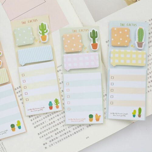 Fashion Cactus Self-adhesive Sticky Notes Stationery Planner Memo Pad Notepad