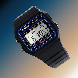 Casio-F91W-1-Digital-Watch-7-Year-Battery-Blue-Black-Microlight-Classic-New