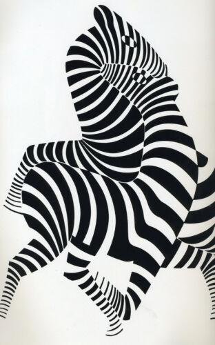zebra CANVAS vintage art painting print black white 80cmx 50cm