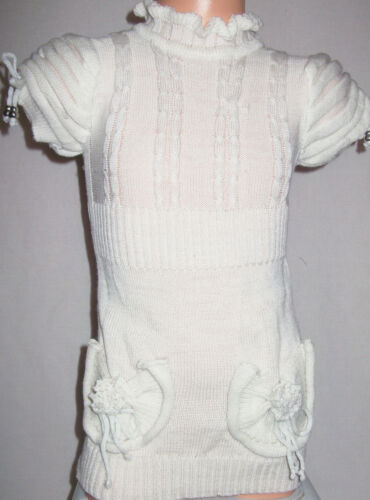 GIRLS CREAMY WHITE FRILLY NECK PUFF SHOULDER WINTER KNIT PARTY DRESS TOP