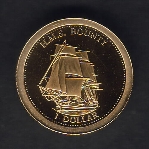 2013 Gold 1 Dollar. 0.5gms  .585 gold. Proof H.M.S.Bounty. Fiji