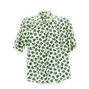 Herren-Vintage-Kurzarmhemd-Gr-L-Freizeit-Shirt-Retro-Blumen-Print-Baumwolle