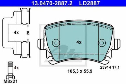 ATE Ceramic Bremsbelagsatz Bremsbeläge LD2887 Hinterachse für VW