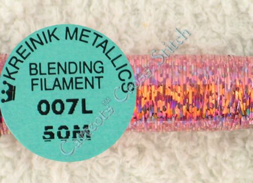 Kreinik Blending Filament 007L Power Pink Holographic Metallic Thread 50M